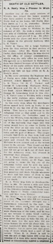Wichita Daily Eagle 1903-08-22 p6 (Neely, R A obituary).png