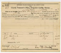 1887 receipt for payment of 1884 & 1885 county taxes for lots 84 & 85 on Georgie Street